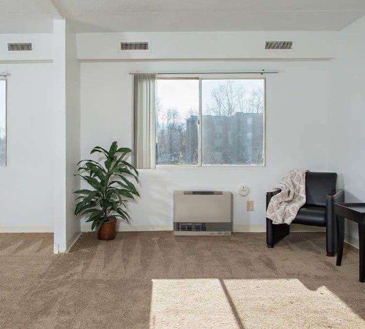 Natrually well-lit living room at Park Guilderland Apartments in Guilderland Center, New York