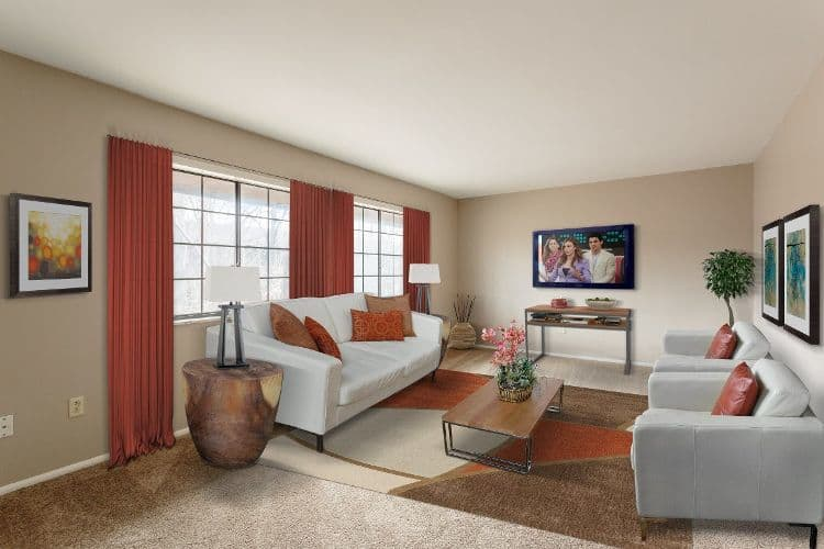 Enjoy a luxury living room at The Residences at Covered Bridge