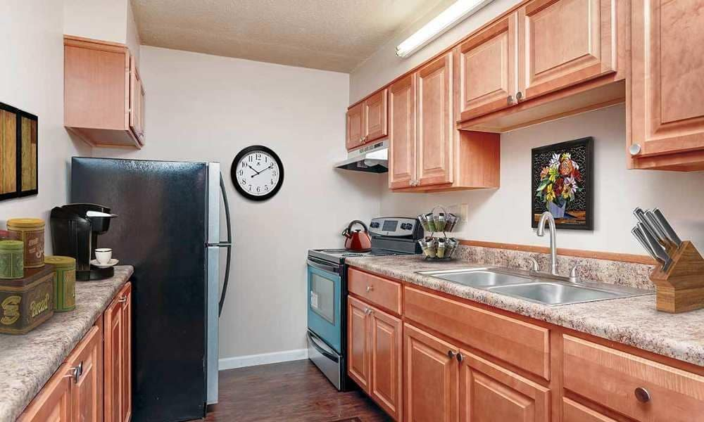 Full-equipped kitchen at Towers on the Hudson in Troy
