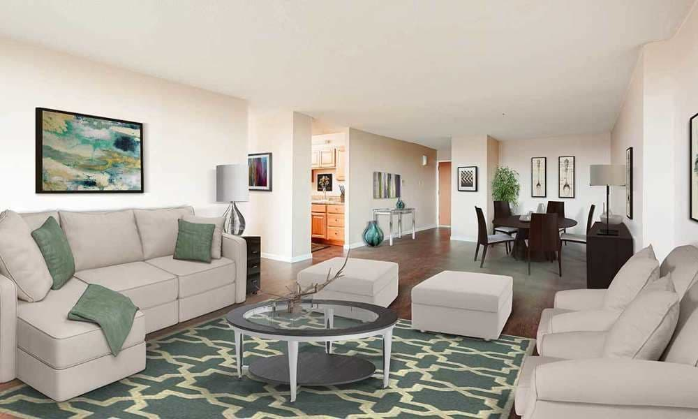 Beautifully designed living room at Towers on the Hudson in Troy
