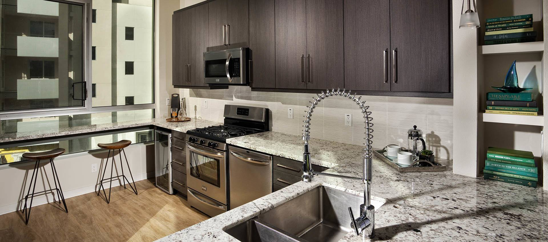 Luxury renovated kitchen rental loft at Brio, Glendale, CA