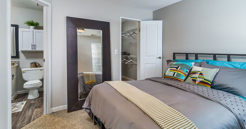 Beautiful bedroom at apartments in Naperville, IL