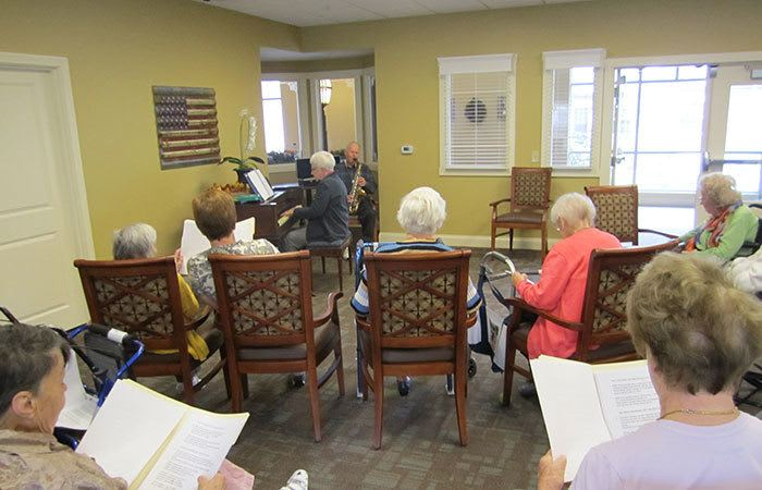 Residents performing as a group at Randall Residence of Tipp City in Tipp City, Ohio