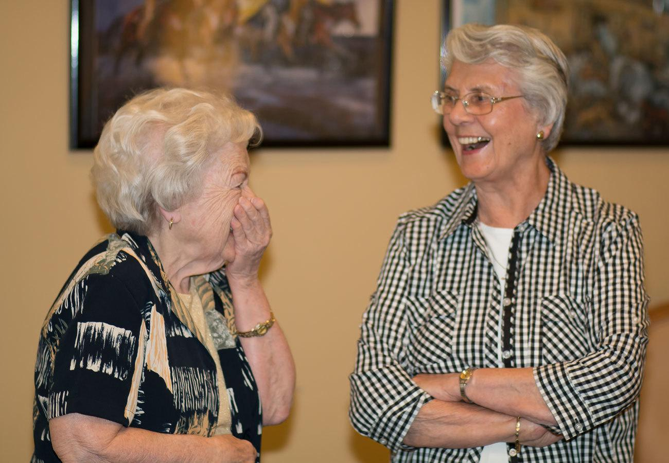 Residents talking and laughing at Governor's Port in Mentor, Ohio