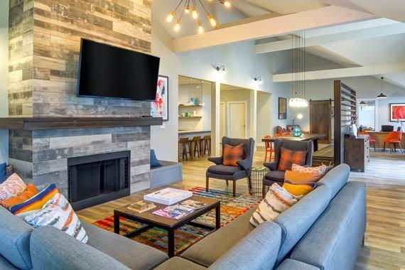Beautiful living room at Sofi at Somerset in Bellevue, WA