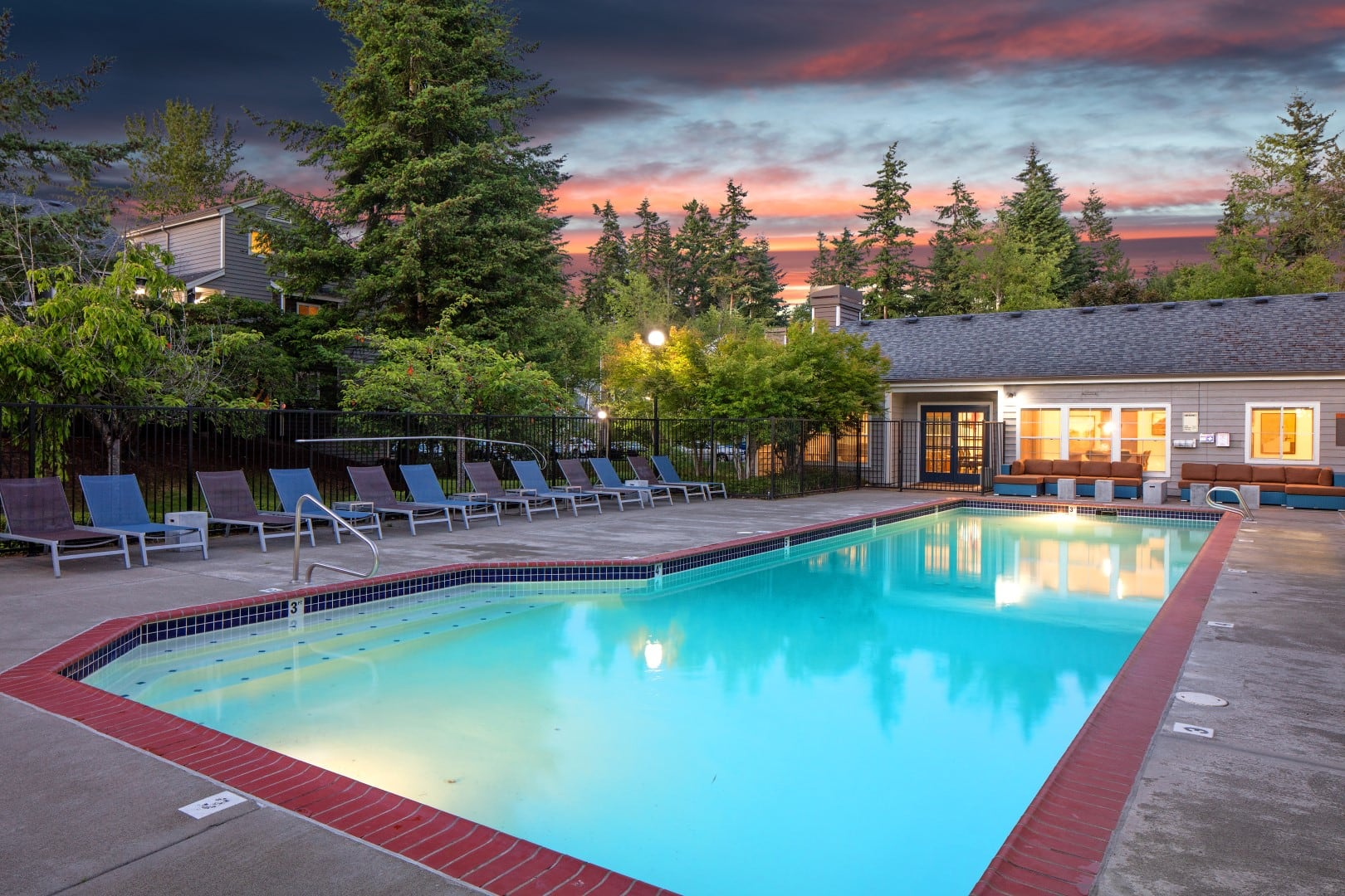 Pool and spa at The Carriages at Fairwood Downs in Renton, WA