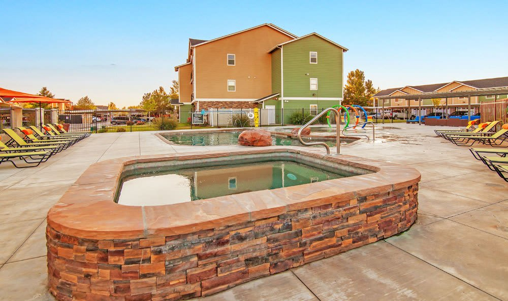 Swimming pool area at Selway Apartments in Meridian Idaho