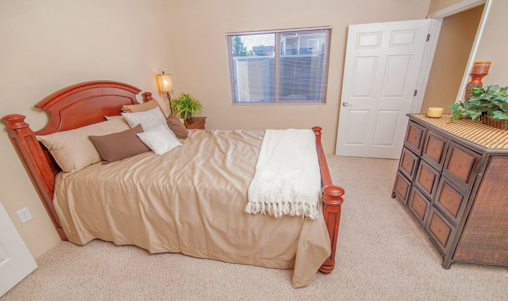 Cozy bedroom at Selway Apartments in Meridian Idaho