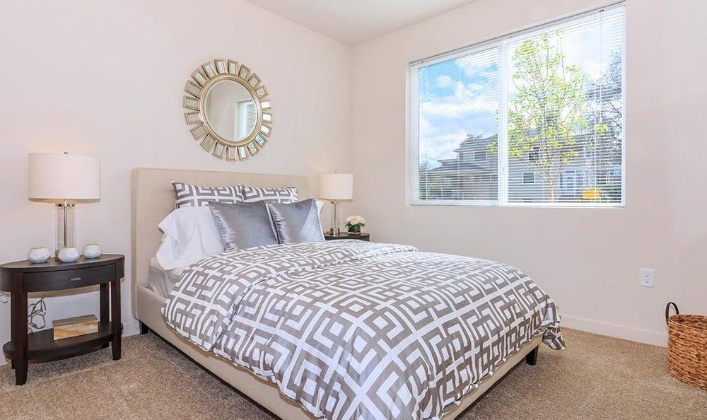 Enjoy a beautiful bedroom at Ecco Apartments