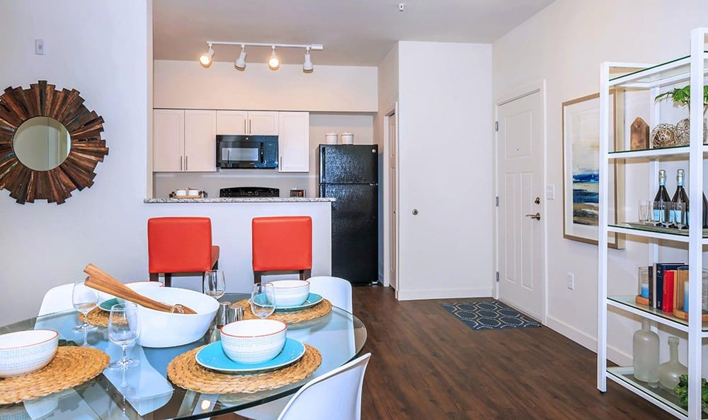 Enjoy apartments with a dining room at Ecco Apartments