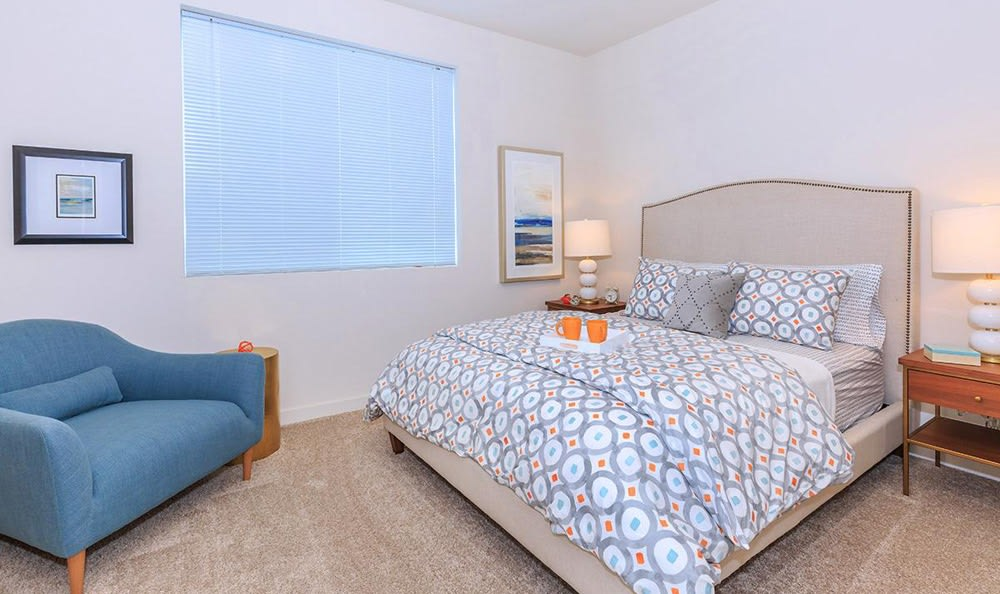 Beautiful bedroom at Ecco Apartments in Eugene, Oregon