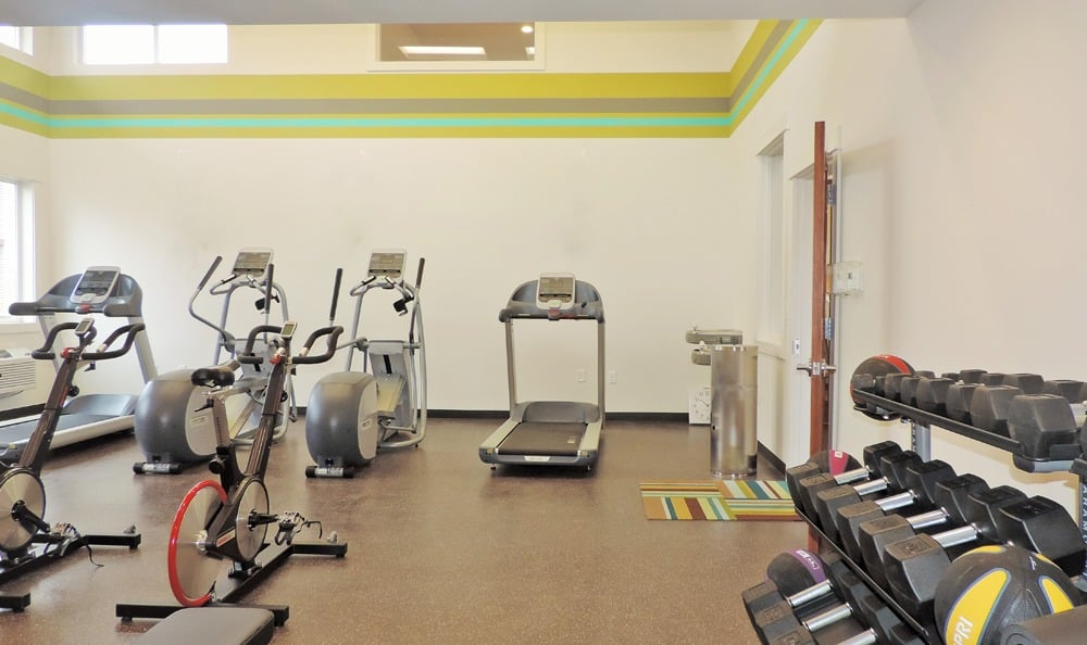 Beautiful fitness center at Ecco Apartments in Eugene, Oregon