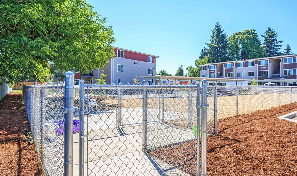 Dog park at Ecco Apartments in Eugene, Oregon