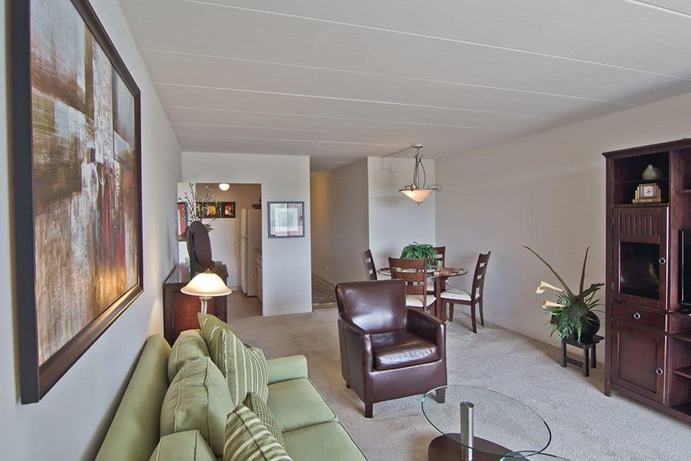 Beautiful living room at apartments in Richton Park, Illinois