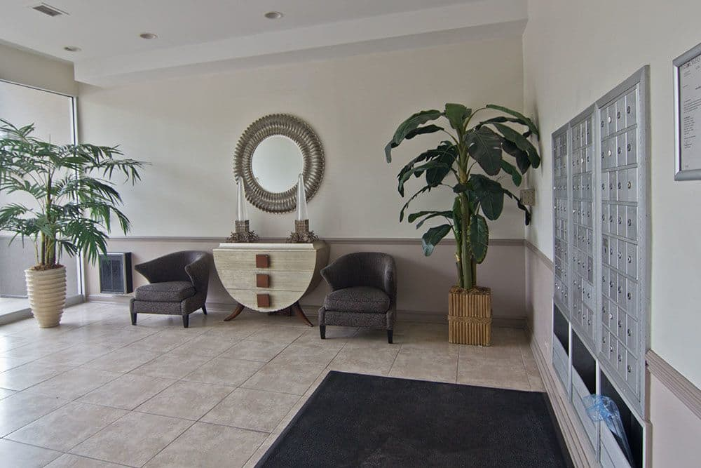 Lobby and postal floor at apartments in Richton Park, Illinois