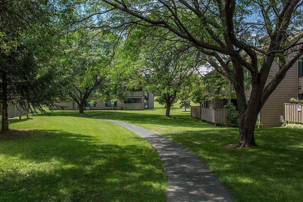 Steeplechase Apartments offers beautiful walking paths in Camillus, New York