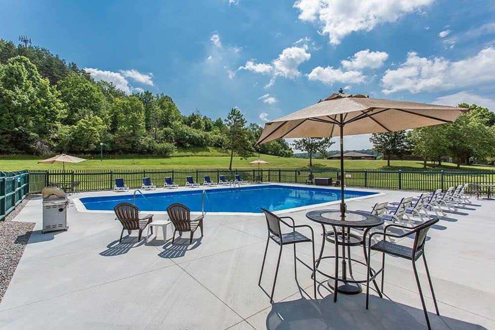 Beautiful swimming pool at apartments in Camillus, New York