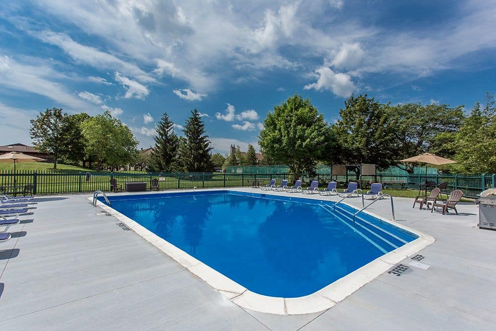 Beautiful swimming pool at Steeplechase Apartments in Camillus, New York