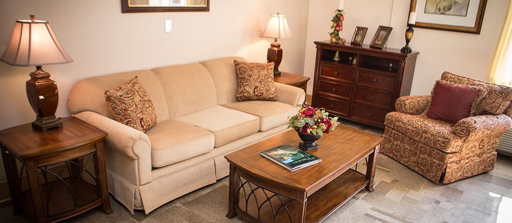 A comfortable couch at Symphony Manor of Richmond