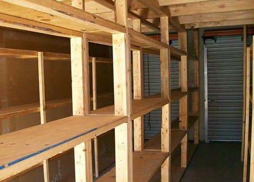 Storage shelves at Maximum Mini Storage Perrin Beitel