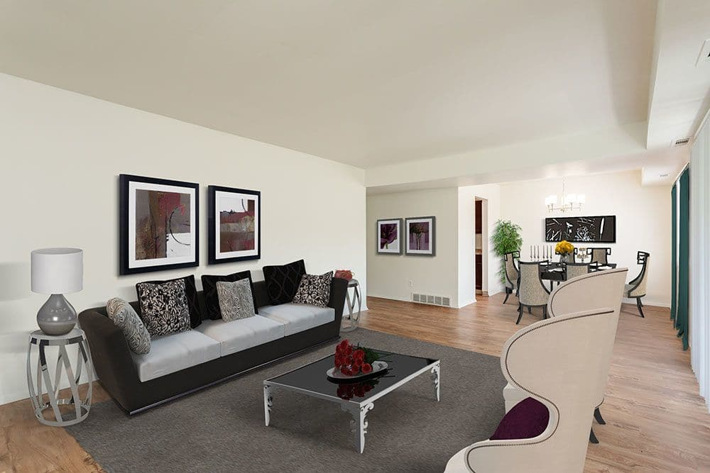 Beautiful living room at apartments in Syracuse, New York