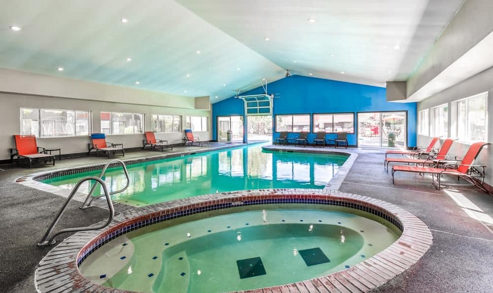 Indoor swimming pool and spa at Surprise Lake Village