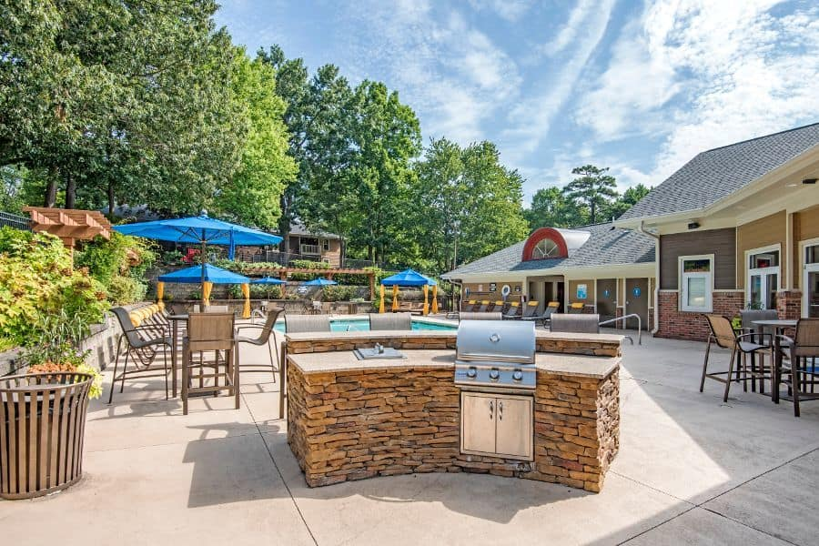 Spacious bbq area at apartments in Raleigh, NC
