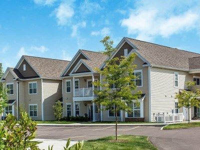 Exterior of apartments at Canal Crossing in Camillus