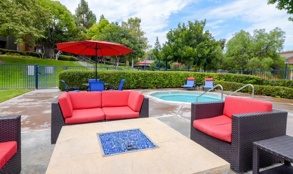 Beautiful place to relax and taking sun in swimming pool at Presidio at Rancho Del Oro in Oceanside, California