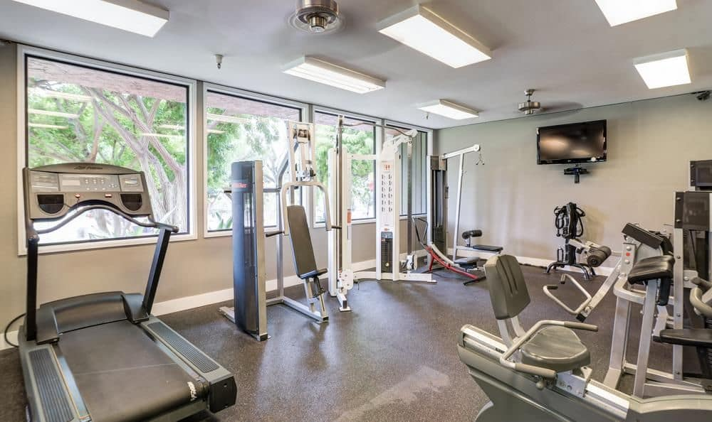 Fitness center at apartments in Oceanside, California