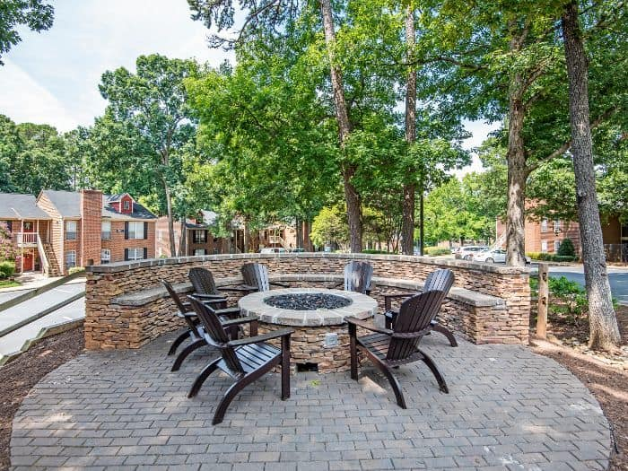 Outdoor seating near the fire pit at Six Forks Station in Raleigh