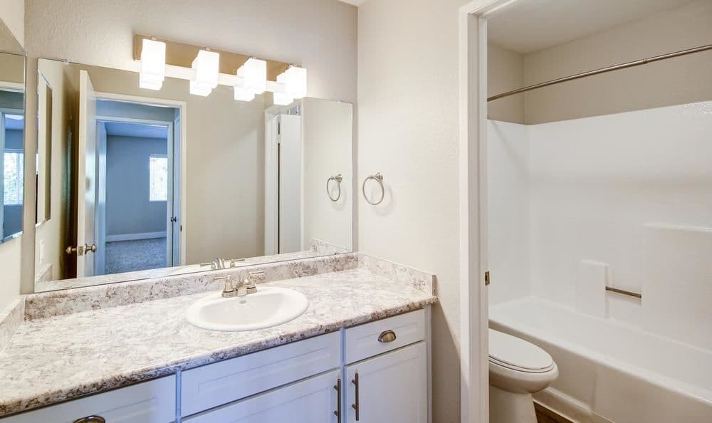 Our apartments in Redlands, California showcase a beautiful bathroom