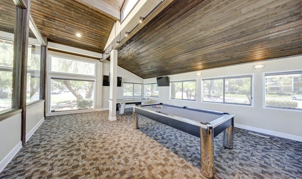 Table pool in Clubhouse at apartments in Redlands, California