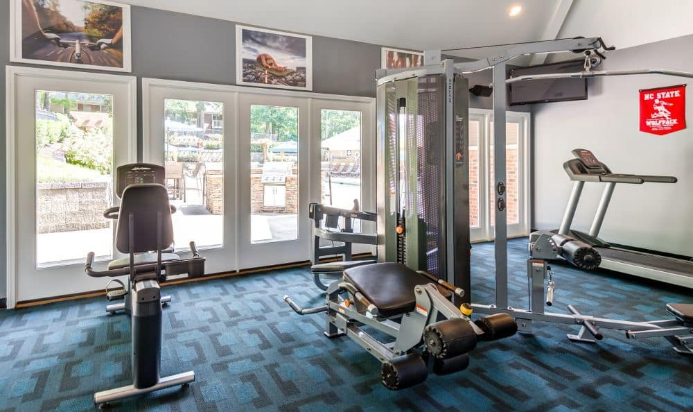Beautiful fitness center at Six Forks Station in Raleigh, NC