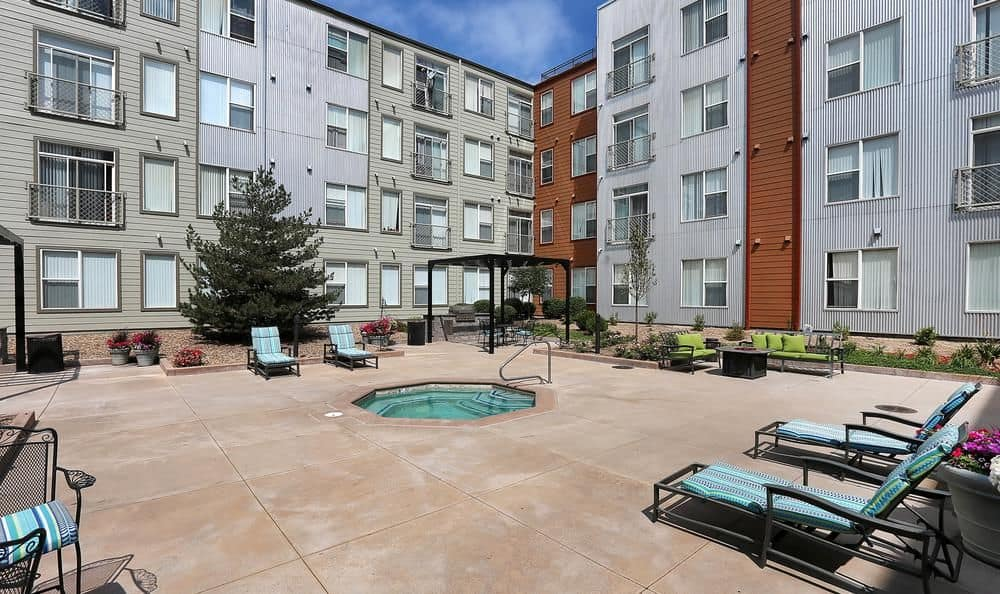 Swimming pool at apartments in Denver, Colorado