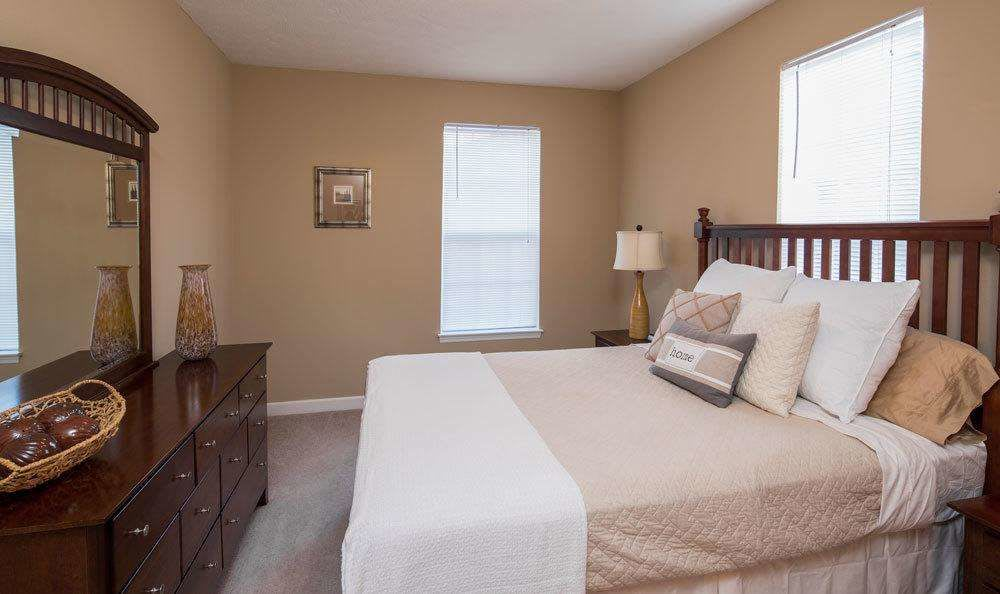 Luxury bedroom at Main Street Apartments in Huntsville