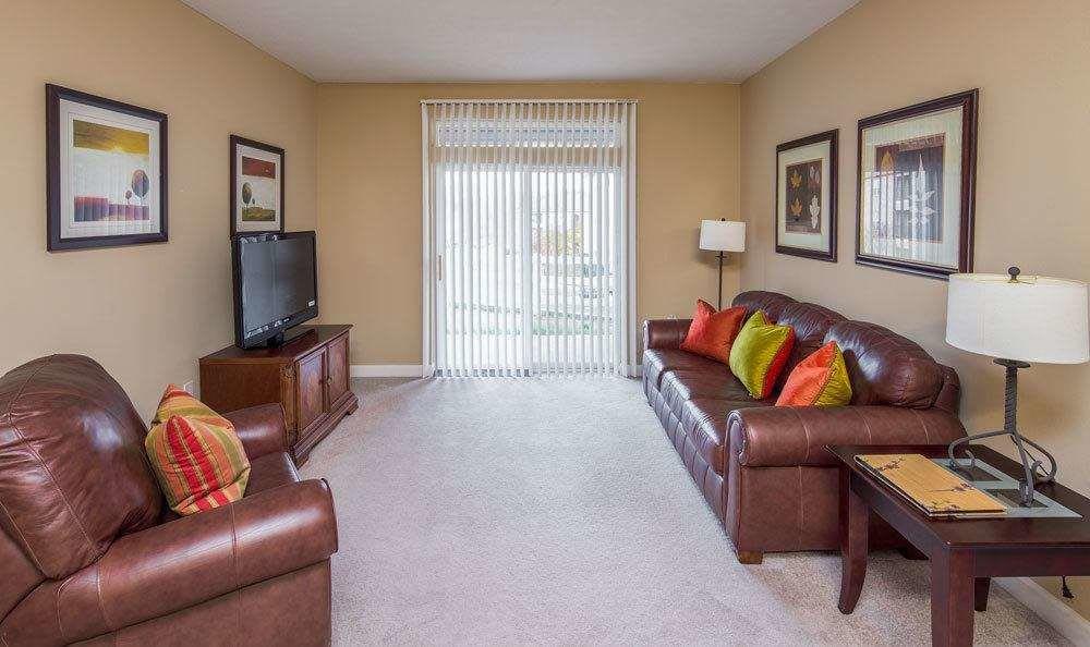 Spacious living room at Main Street Apartments in Huntsville