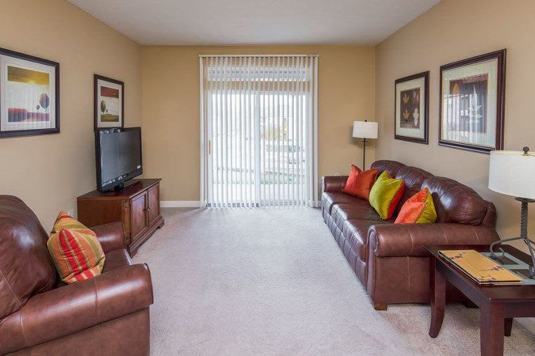Spacious living room at Main Street Apartments