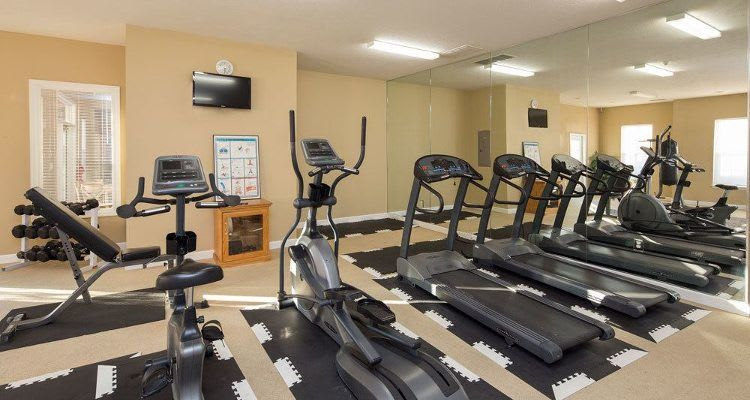 Fitness center at Main Street Apartments in Huntsville, AL