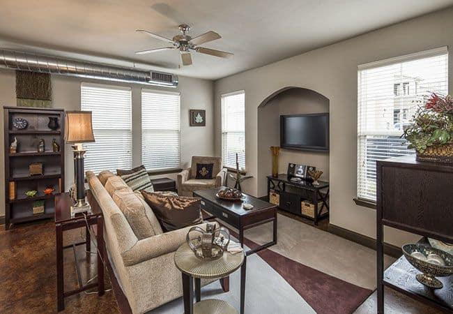 Spacious living room at Millennium Towne Center in Baton Rouge, LA