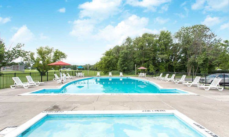 Sparkling swimming pool at Orchard Estates community situated in Mattydale, NY