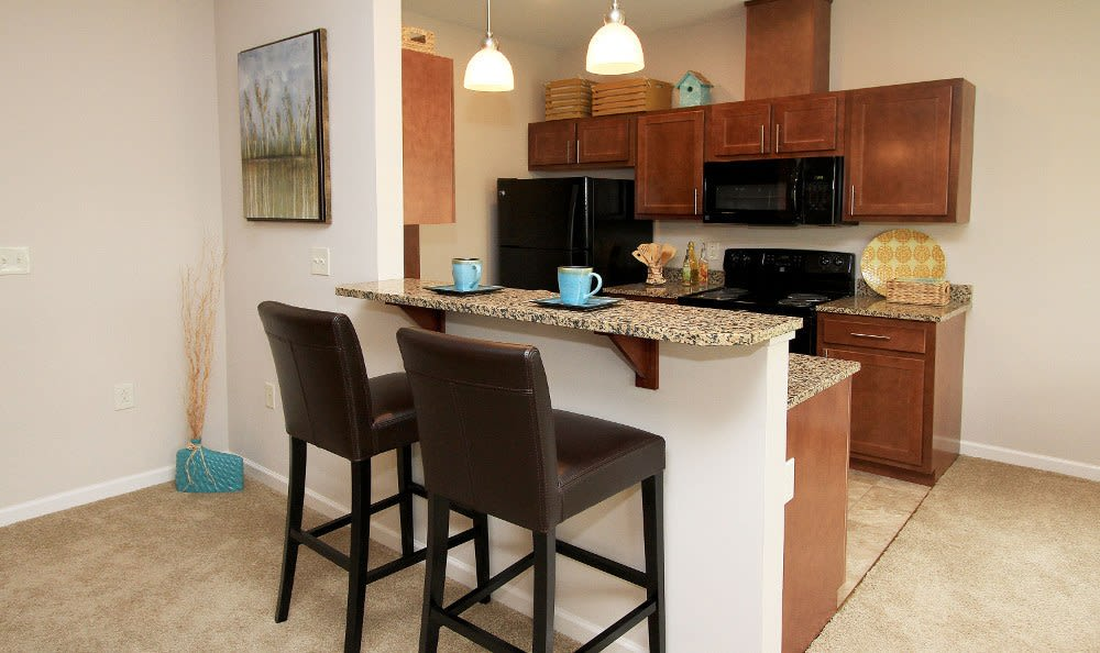 Modern kitchen at Preserve at Autumn Ridge home in Watertown, NY