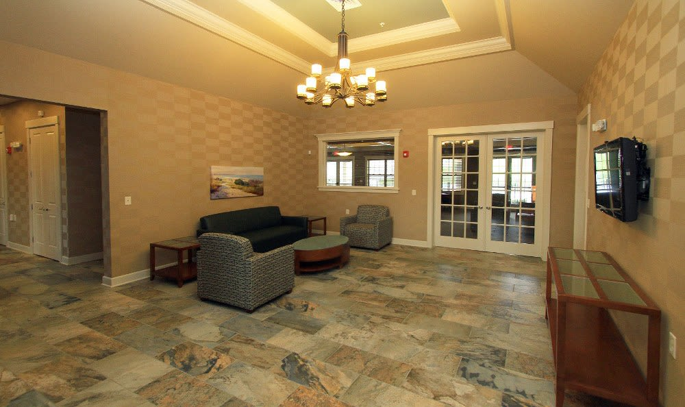 Clubhouse lobby at Preserve at Autumn Ridge in Watertown, NY
