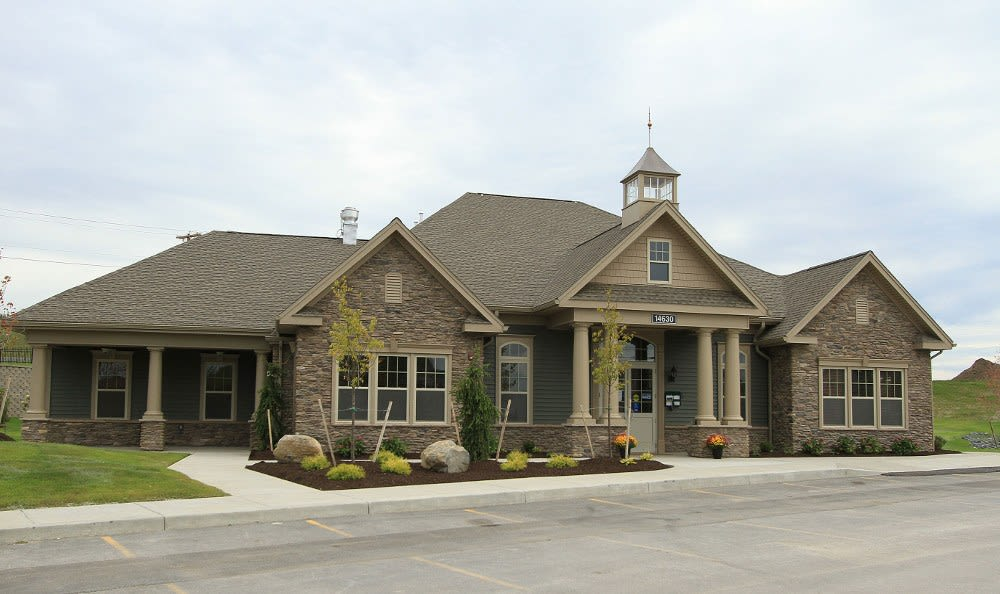 Clubhouse exterior view at Preserve at Autumn Ridge in Watertown, NY