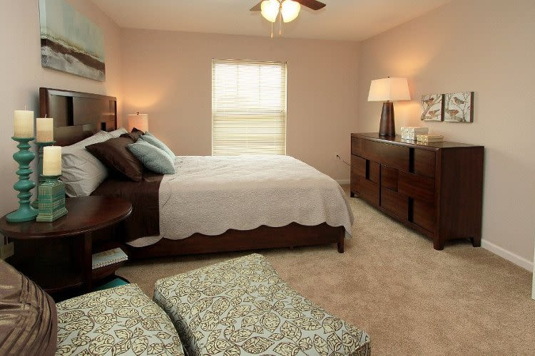 Beautifully designed bedroom at Preserve at Autumn Ridge in Watertown, NY