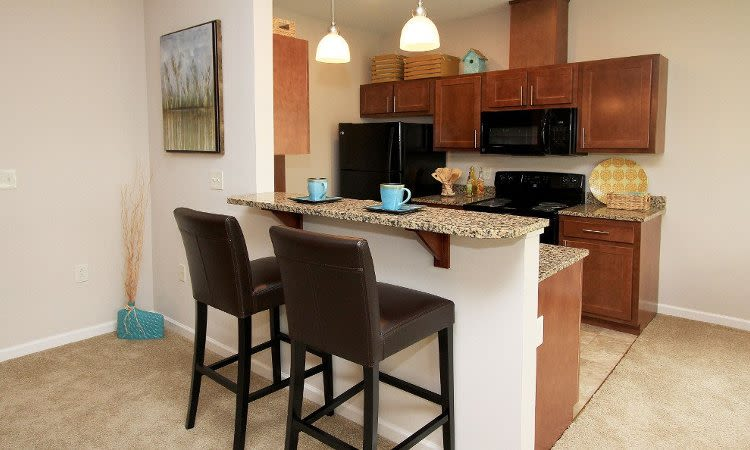Well-equipped kitchen at Preserve at Autumn Ridge in Watertown