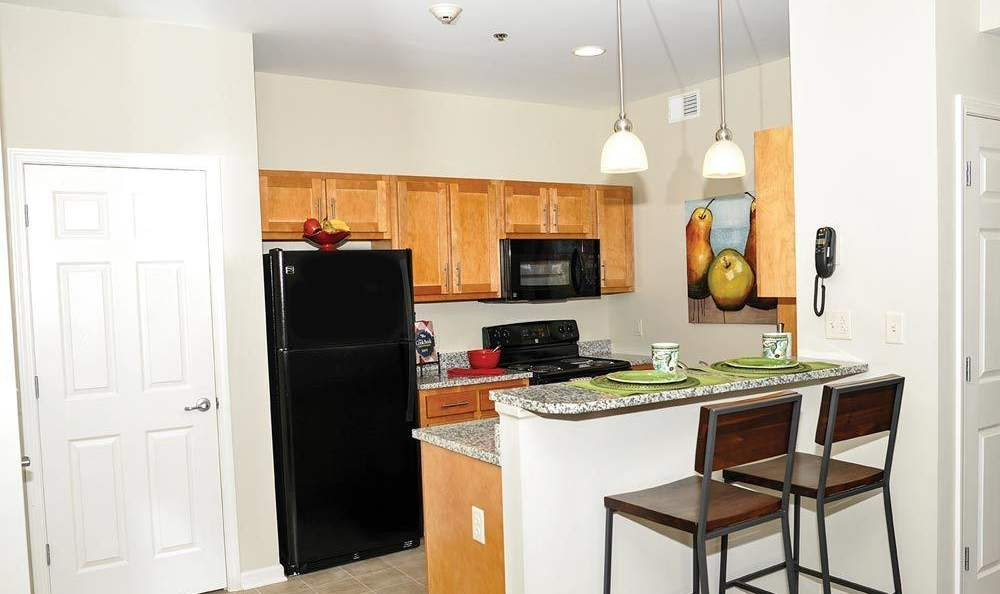 Fully-equipped kitchen at Rivers Pointe Apartments in Liverpool