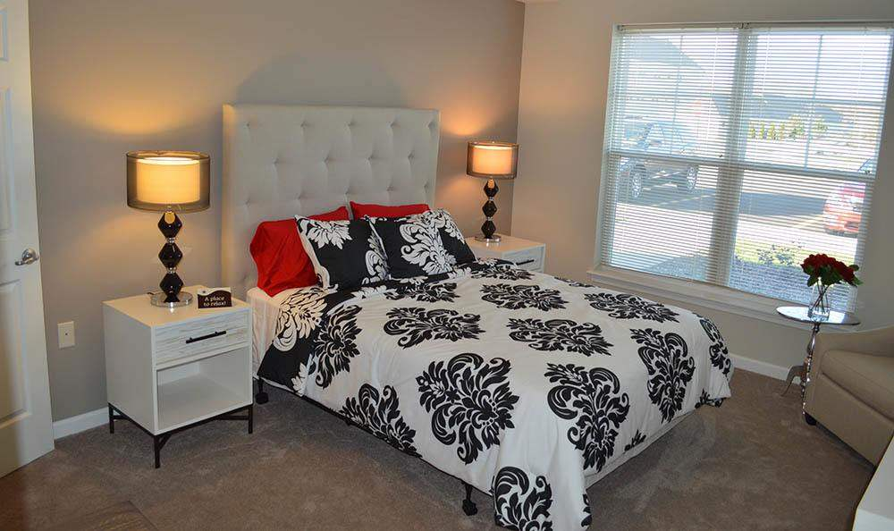 Well decorated bedroom at Rivers Pointe Apartments in Liverpool