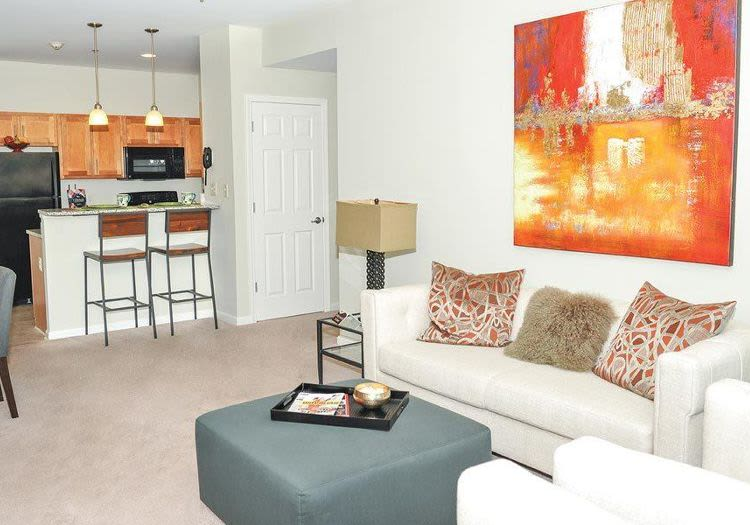 Well decorated living room at Rivers Pointe Apartments in Liverpool, NY