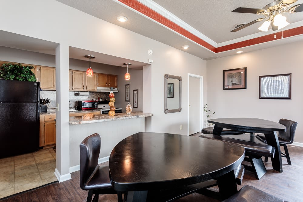 Dining tables at Steeplechase Apartments clubhouse